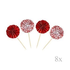 Sada 8 zapichovacích dekorácií Neviti Red & White Dots Pinwheel