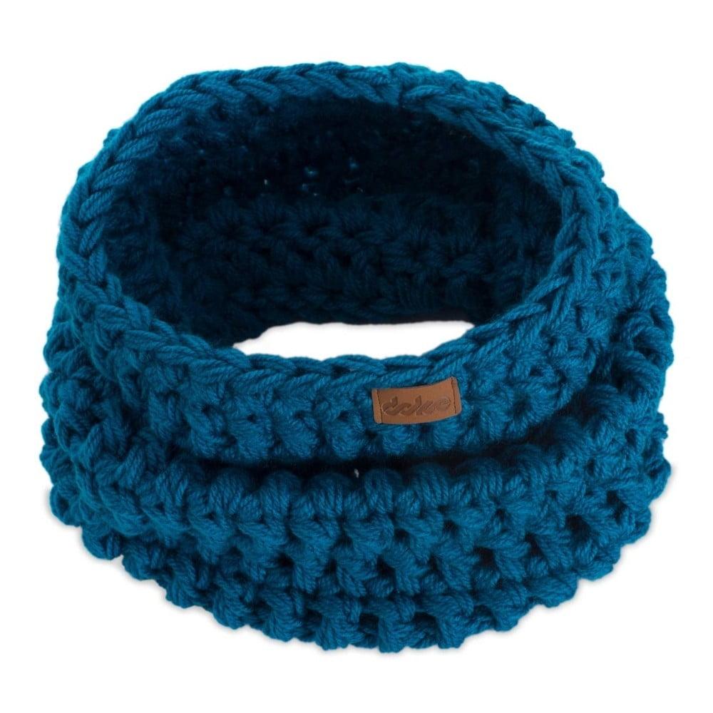 Modrý ručne háčkovaný kruhový šál DOKE Petrol