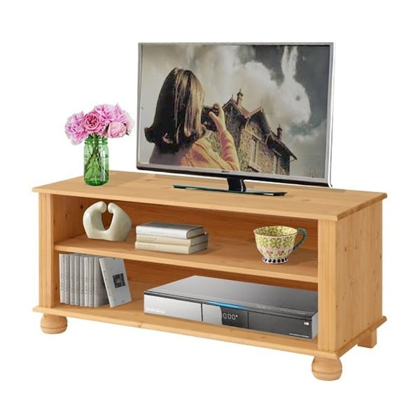Hnedý TV stolík z masívneho borovicového dreva Støraa Ella
