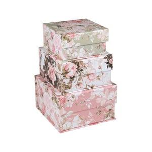 Sada 3 menších boxov s kvetinovým motívom Tri-Coastal Design