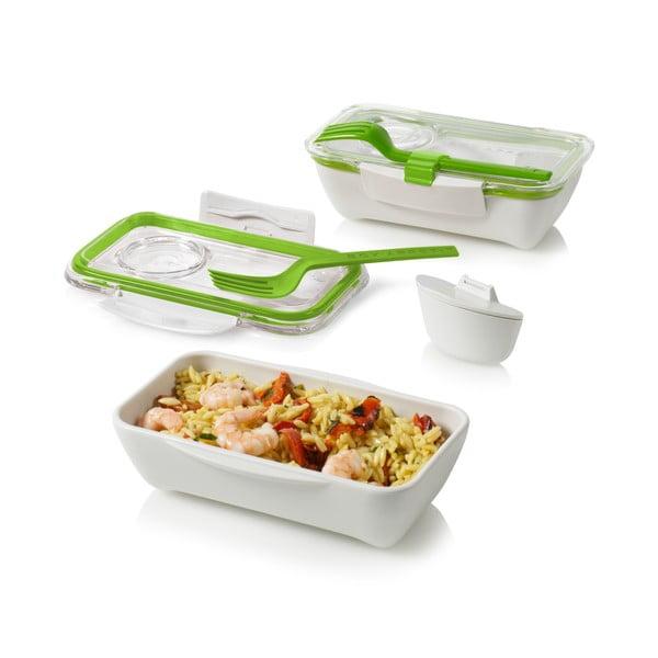 Desiatový box Bento, zelenobiely