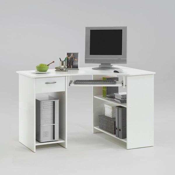 Biely rohový pracovný stôl 13Casa Felix