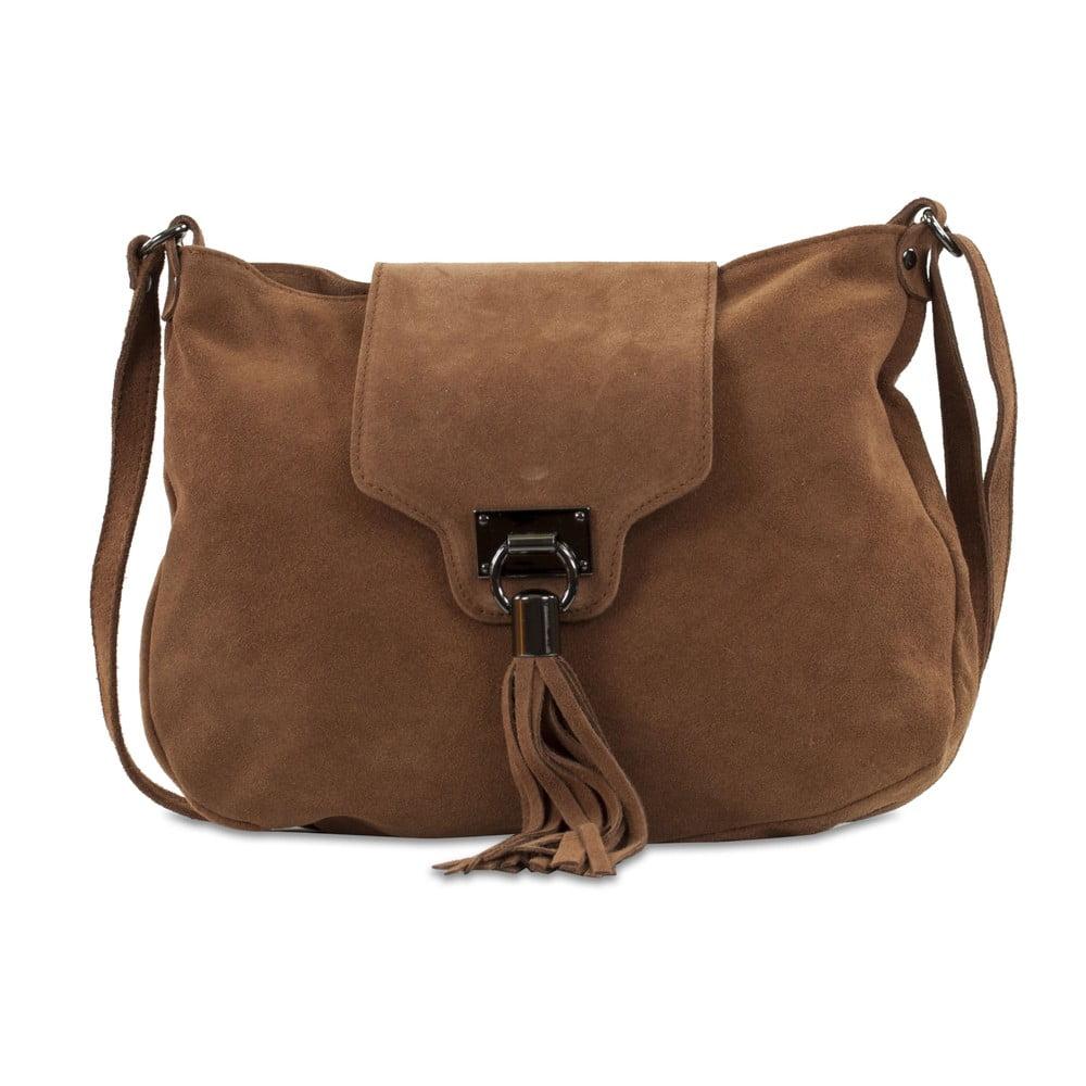 Hnedá kabelka z nubukovej kože Infinitif Pexine b119c4d3594