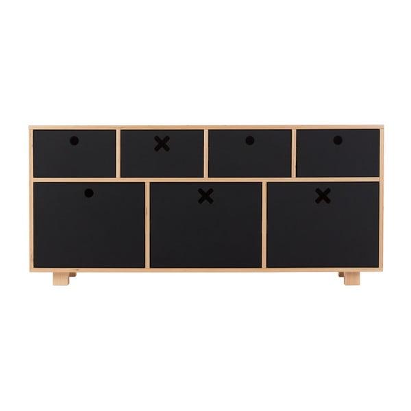 Nízka čierna komoda Durbas Style