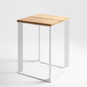 Odkladací stolík s bielym podnožím a dubovou doskou Custom Form Skaden, 50 × 50 cm