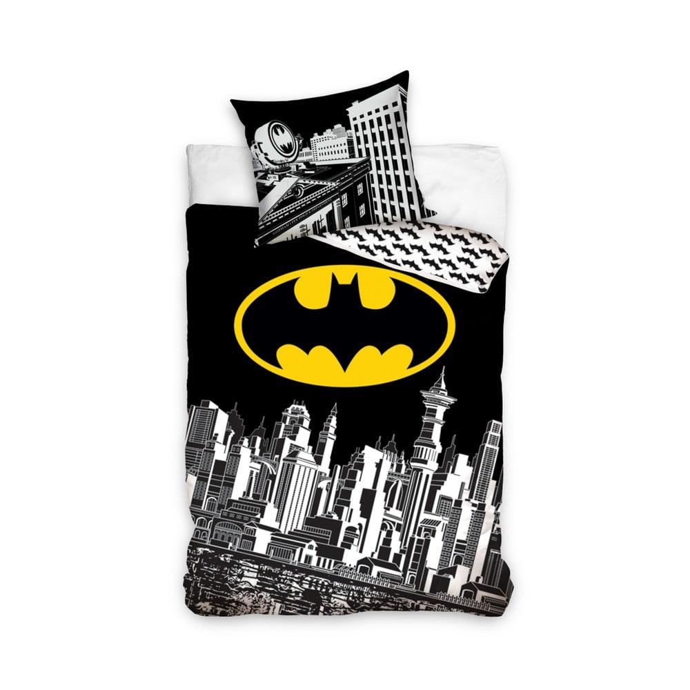 Detské bavlnené obliečky na jednolôžko CARBOTEX Batman Night Logo, 160 × 200 cm