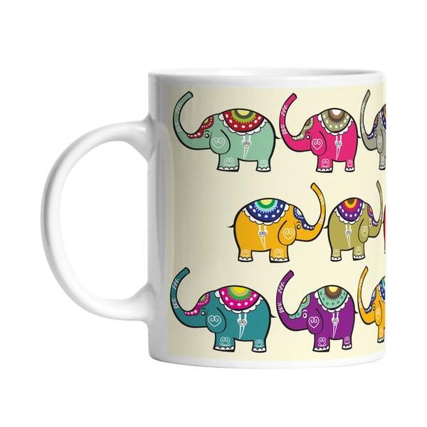 Keramický hrnček Indian Elephants, 330 ml