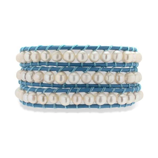 Tmavomodro-biely kožený náramok s perlami Nova Pearls Copenhagen Néreus