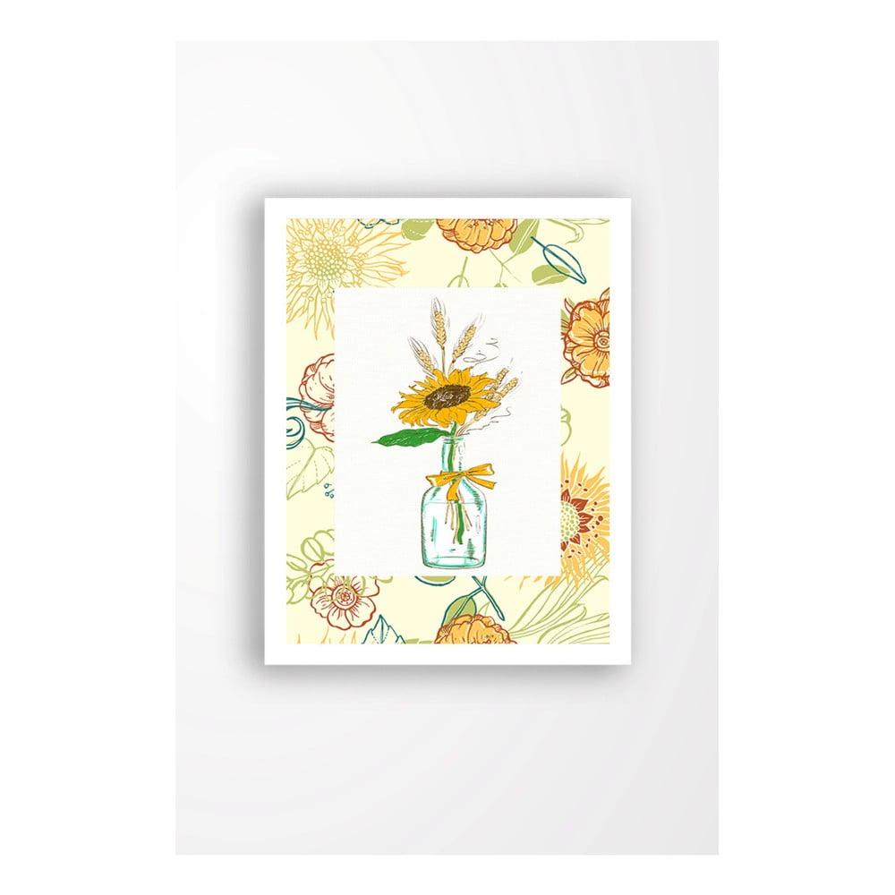 Nástenný obraz na plátne v bielom ráme Tablo Center Yellow Flower, 29 × 24 cm