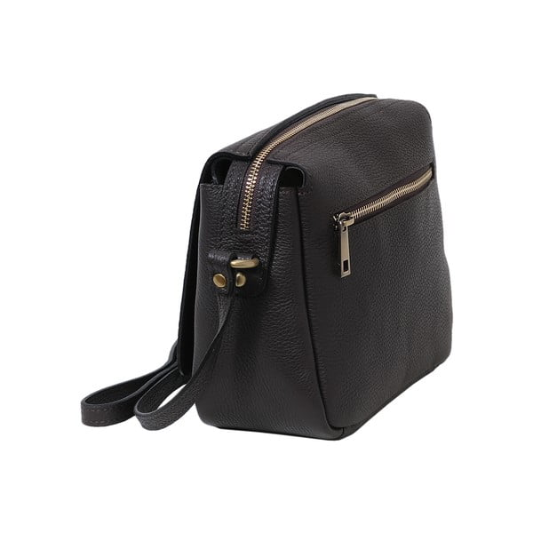 Tmavohnedá kabelka z pravej kože Andrea Cardone Alessio