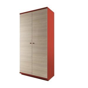 Červená dvojdverová šatníková skriňa z masívneho dubového dreva JELÍNEK Amanta