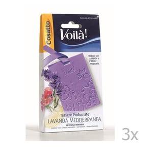 Sada 3 vonných kariet s vôňou stredomorskej levandule Cosatto Perfume