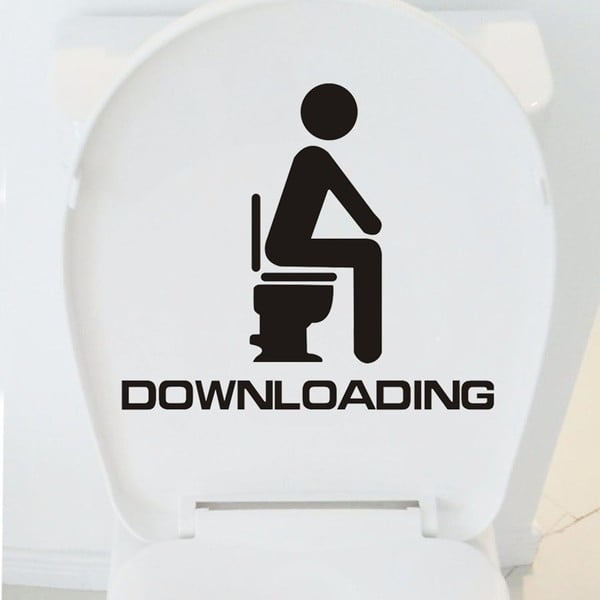 Dekoratívna samolepka WC Downloading, 35x40 cm