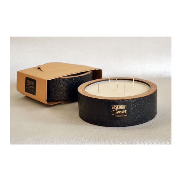 Palmová sviečka Legno Black Wood s vôňou vanilky a pačuli, 80 hodín horenia