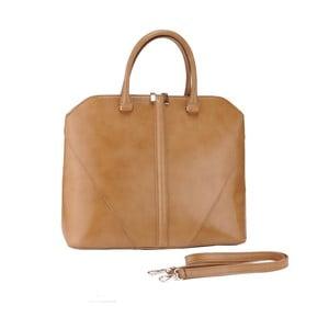 Kožená kabelka Mango, béžová