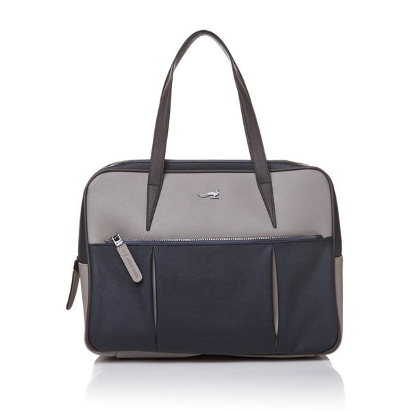 Kožená kabelka cez rameno Marta Ponti Negozio, sivá/modrá