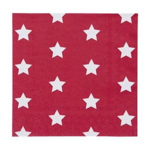 Červené obrúsky Clayre & Eef Xmas Star, 20ks