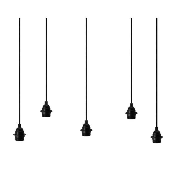 Čierne závesné svietidlo s 5 káblami Bulb Attack Uno Primary