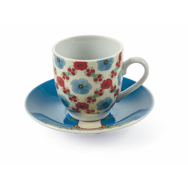 Sada 6 porcelánových šálok s tanierikmi Villa d´Este Carmen, 90 ml