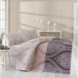 Prikrývka na posteľ a obliečky na vankúš Damask Brown,200x220cm