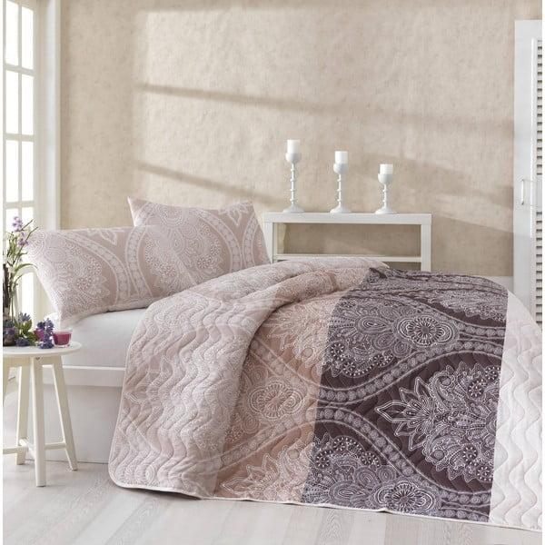 Prikrývka na posteľ a obliečka na vankúš Damask Brown, 160x220 cm