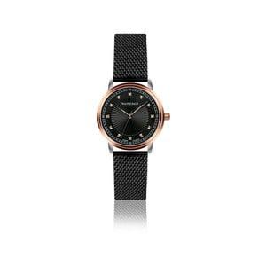 Dámske hodinky s čiernym remienkom z pravej kože a 4 diamantmi Walter Bach Special
