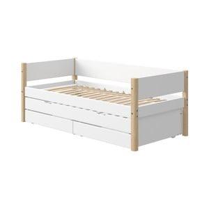 Biela detská posteľ s prídavným výsuvným lôžkom a úložným priestorom a nohami z brezového dreva Flexa White