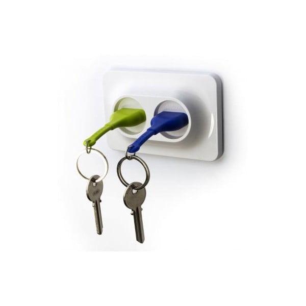 Nástenný držiak s kľúčenkami QUALY Double Unplug, zelená-modrá