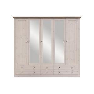 Biela šatníková skriňa z borovicového dreva s hnedou doskou a zrkadlami Steens Monaco