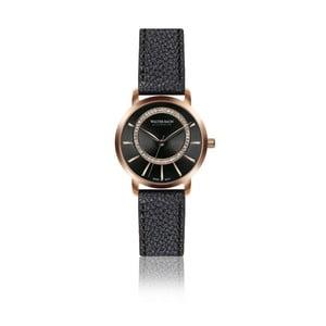 Dámske hodinky s čiernym remienkom z pravej kože Walter Bach Honey