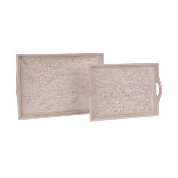 Sada 2 drevených tácov White Beige
