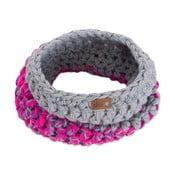 Sivo-ružový ručne háčkovaný kruhový šál DOKE Kathy