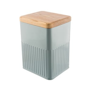 Sivá plechová hranatá dóza s viečkom z jaseňového dreva Bakehouse Hydria L