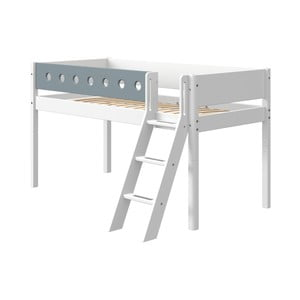 Modro-biela detská posteľ s rebríkom Flexa White, výška 120 cm