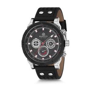 Pánske hodinky s čiernym koženým remienkom Bigotti Milano Harley
