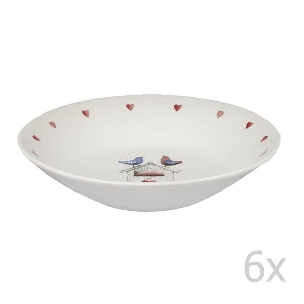 Sada 6 ks hlbokých tanierov Two Lovebirds, 20 cm