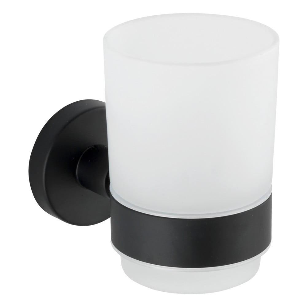Biely nástenný téglik na kefky s matným antikoro čiernym držiakom Wenko Uno Bosio