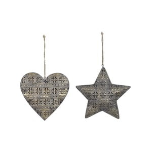 Sada 2 vianočných závesných ozdôb v tvare srdca a hviezdy Ego Dekor
