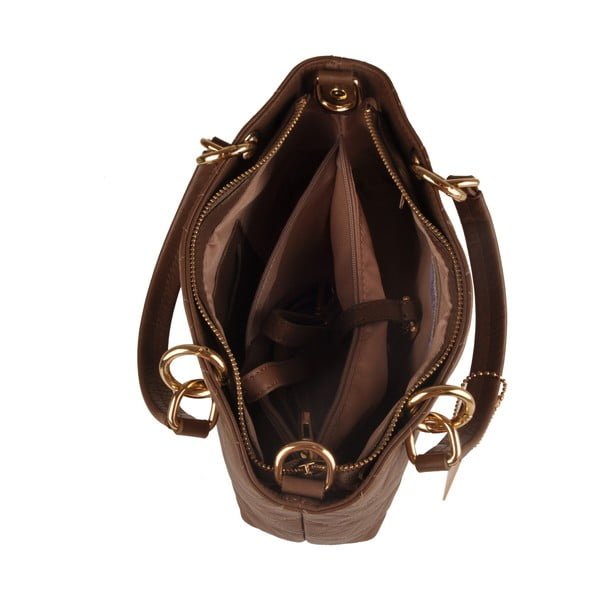 Kožená kabelka Emilio Masi Belore, hnedá