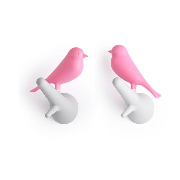 Nástenný vešiak QUALY Hook Sparrow, 2ks, bielo-ružový