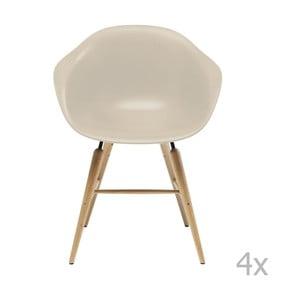 Sada 4 béžových jedálenských stoličiek s podnožou z bukového dreva Kare Design Forum