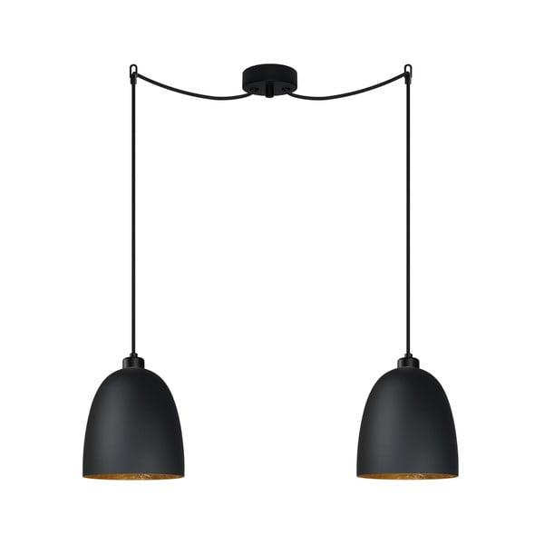 Čierne dvojité stropné svietidlo s detailom v zlatej farbe Sotto Luce AWA Elementary 2S