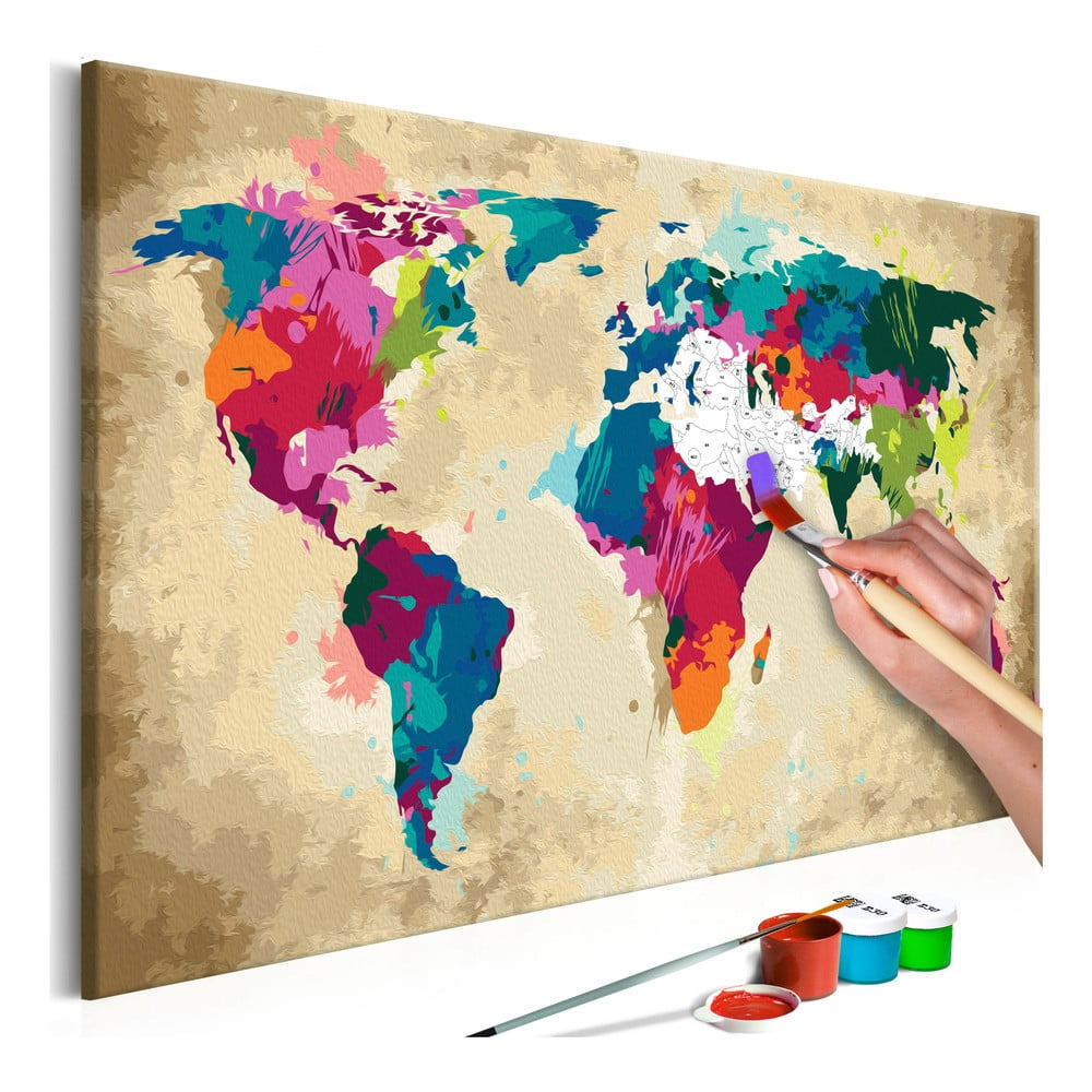 DIY set na tvorbu vlastného obrazu na plátne Artgeist Colorful World Map, 60 × 40 cm