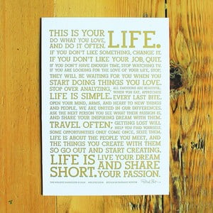 Plagát White Manifesto 13x18 cm, gold on white