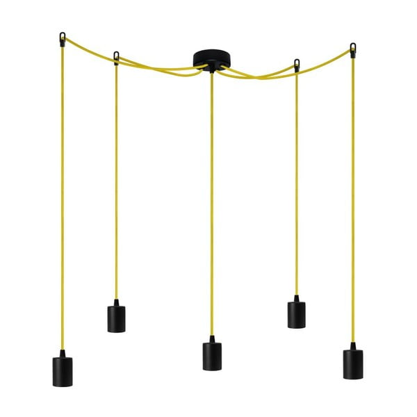 Päť závesných káblov Cero, čierna / žltá / čierna