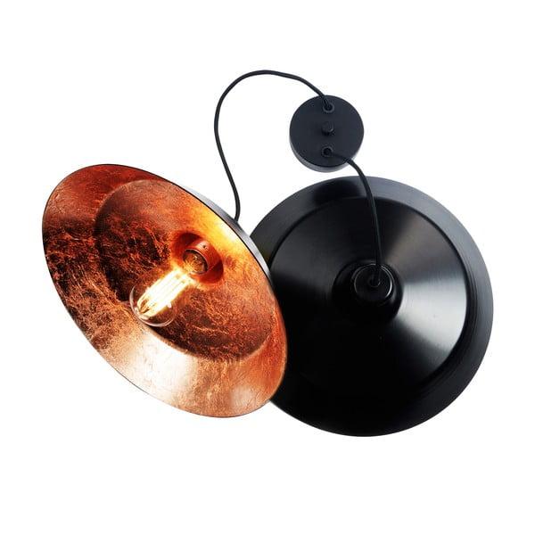 Závesné svietidlo s 2 čiernymi káblami a tienidlami v čiernej a medenej farbe Bulb Attack Cinco