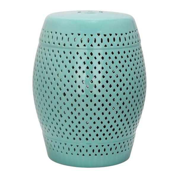 Tyrkysovomodrý keramický stolík vhodný do exteriéru Safavieh Diamond, ø35cm