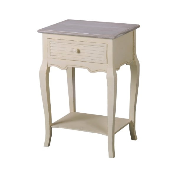 Krémovobiely nočný stolík z topoľového dreva Livin Hill Pesaro