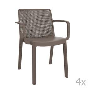 Sada 4 hnedých záhradných stoličiek sopierkami Resol Fresh
