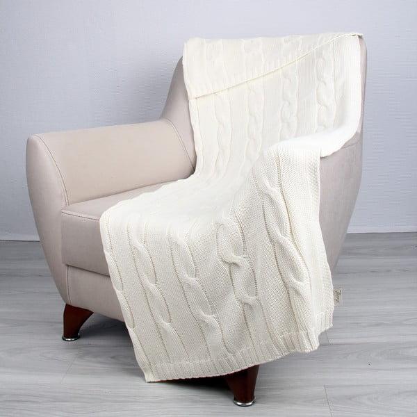 Svetlobéžová bavlnená deka Couture, 170×130cm